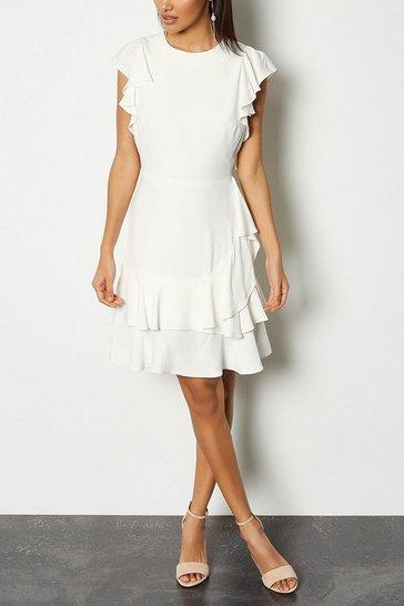 Ivory Frill Sleeve Hem Dress
