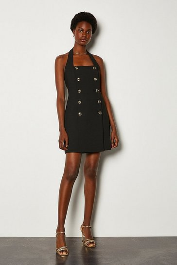 Black Military Halter Neck Dress