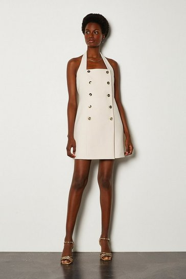 Cream Military Halter Neck Dress