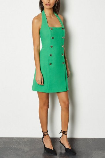 Green Military Halter Neck Dress