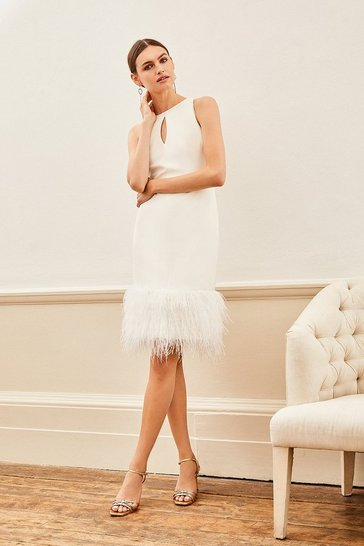 Ivory Feather Hem Halter Neck Dress