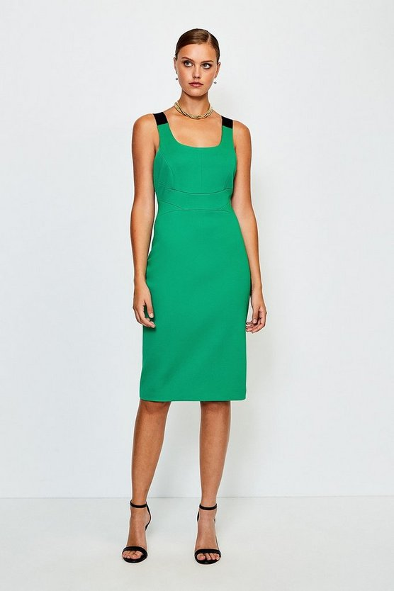 Green Italian Structured Jersey Strappy Dress