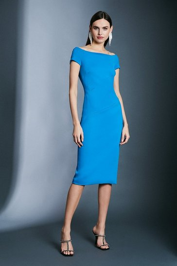 Blue Italian Structured Jersey Bardot Dress