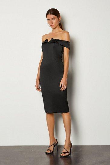 Black Structured Satin Bardot Dress