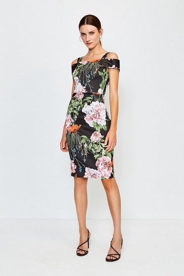 Italian Stretch Rose Print Bardot Dress