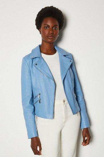 Pale blue Leather Signature Biker Jacket