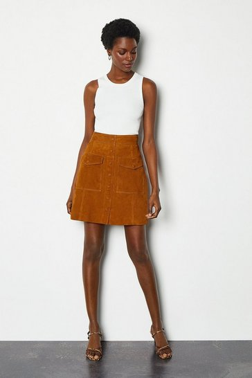 Tan Pocket Front A-Line Suede Skirt