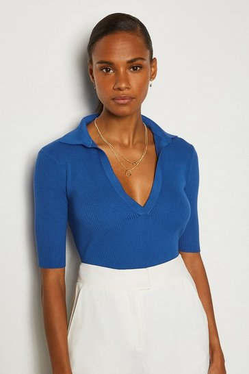 Blue Sporty Collared Top
