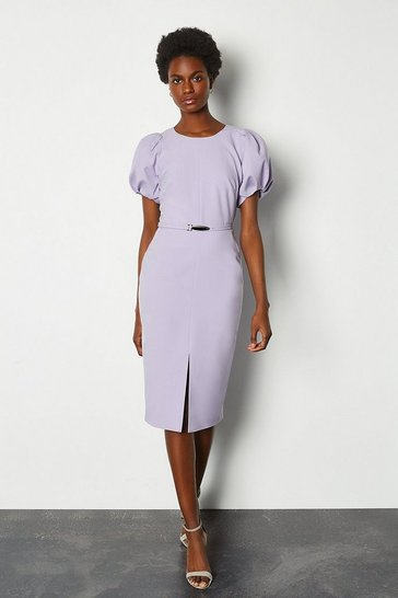 Lilac Puff Sleeve V Back Dress With Belt