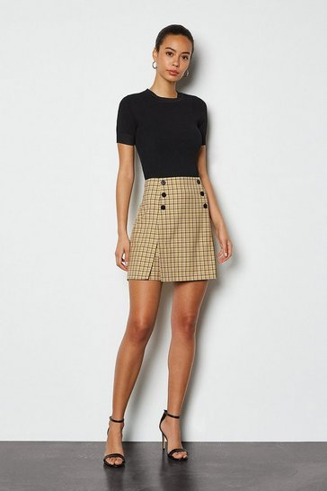 Yellow Shadow Check Mini Skirt