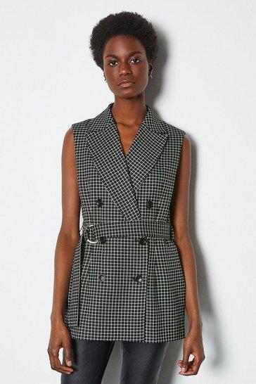 Blackwhite Monochrome Check Waistcoat