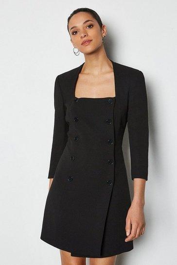 Black Military Square Neck Dress