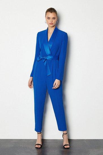 Blue Tuxedo Wrap Jumpsuit