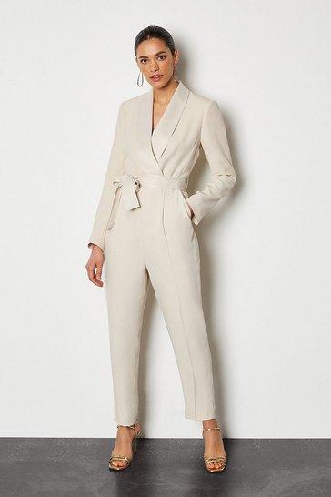Natural Tuxedo Wrap Jumpsuit