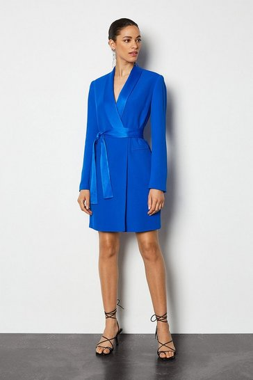 Blue Tuxedo Wrap Dress