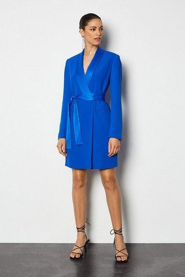 Blue Tuxedo Wrap Dress
