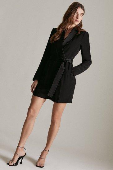 Black Tuxedo Wrap Playsuit