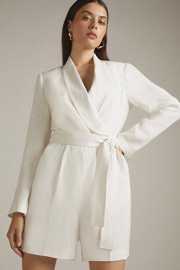 Ivory Tuxedo Wrap Playsuit