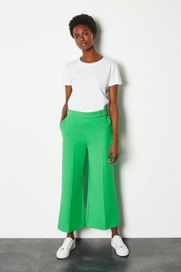 Green Square D Ring Crop Trouser