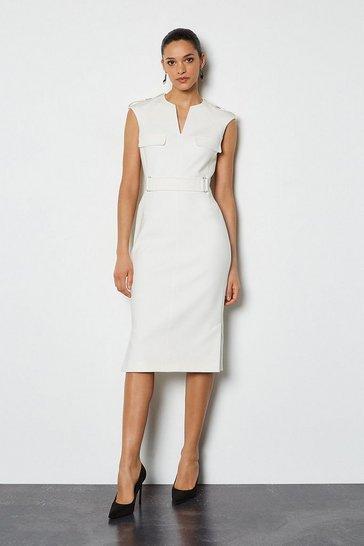 Ivory Square D Ring Pencil Dress