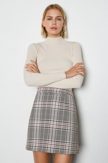 Multi Spring Check Mini Skirt