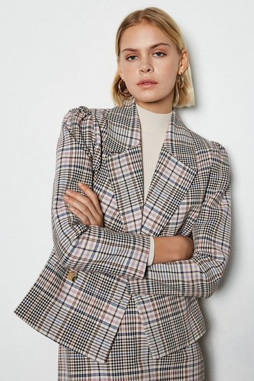 Multi Spring Check Double Breasted Jacket