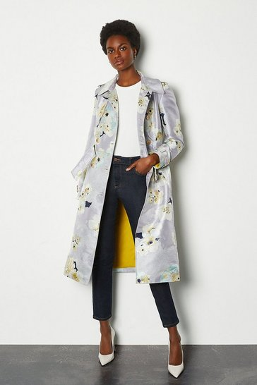 Floral Watercolour Belted Trench Coat
