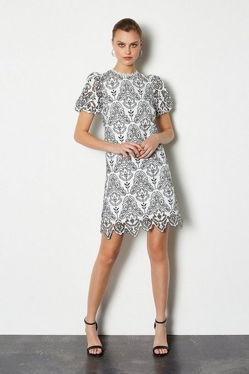 Ivory Chemical Lace Short Sleeve Short Dress