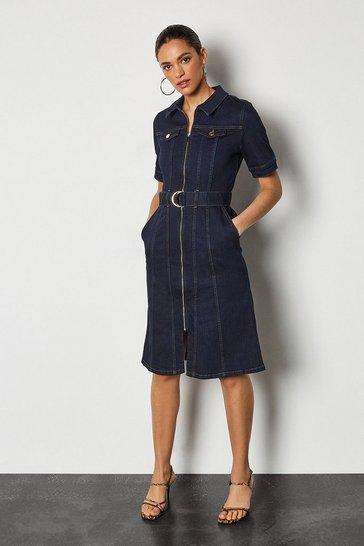 Denim Zip Front Dress