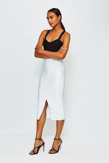 Ivory Bandage Knit Colourblock Dress