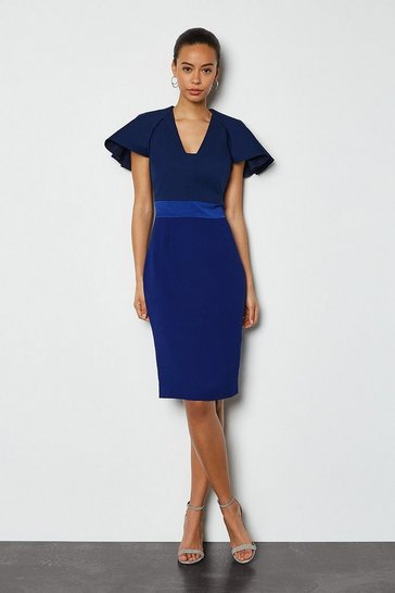 Navy Colour Block Sculptured Sleeve Dress