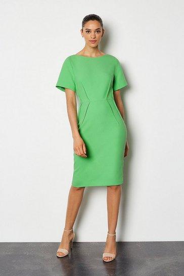 Green Short Sleeve Tailored Dress