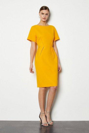 Yellow Short Sleeve Tailored Dress
