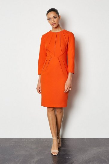 Orange Pintuck Long Sleeve Tailored Dress