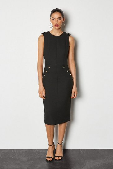 Black Tailored Military Button Detail Dress