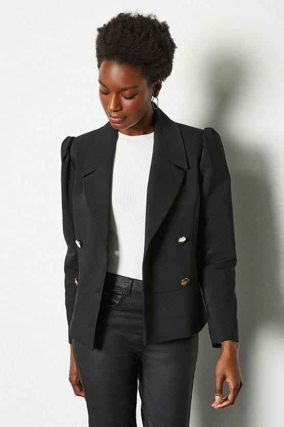 Black Gathered Sleeve Tailored Jacket