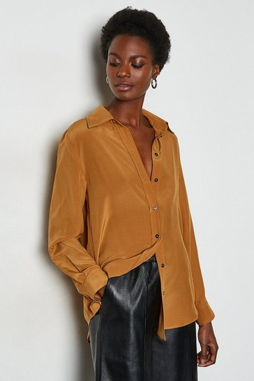 Camel Silk Straight Fit Shirt