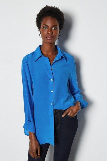 Cobalt Silk Straight Fit Shirt