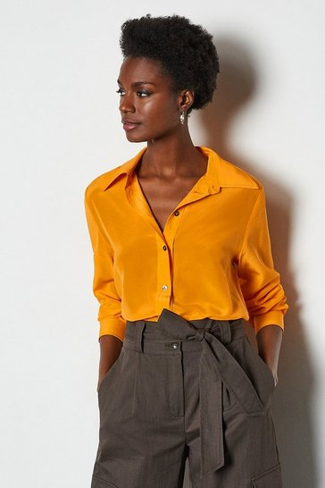 Orange Silk Straight Fit Shirt