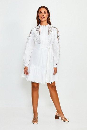 White Cotton Cut Work Short Dress