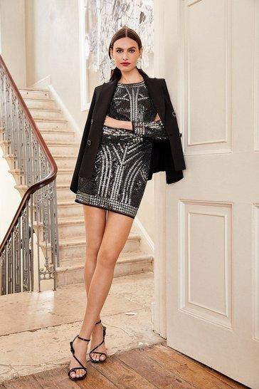 Black Beaded Long Sleeve Bodycon Dress