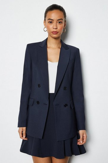 Navy Luxe Wool Blend Suit Jacket