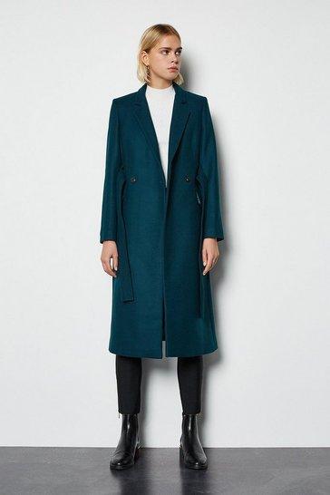 Teal Cashmere Blend Belted Coat