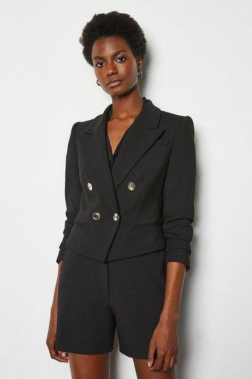 Black Crop Tuxedo Jacket