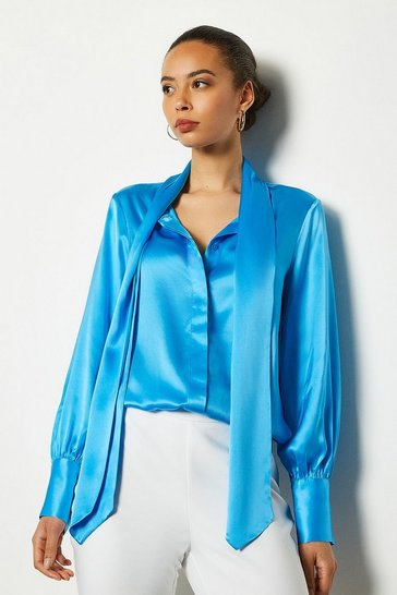 Blue Bow Silk Blouse
