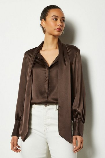 Chocolate Bow Silk Blouse