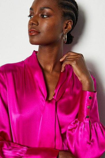 Pink Bow Silk Blouse