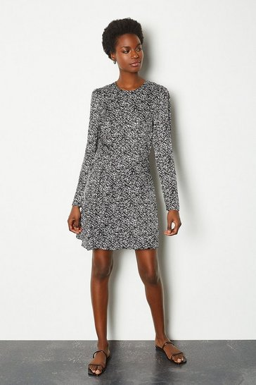 Blackwhite Printed ruched long sleeve dress