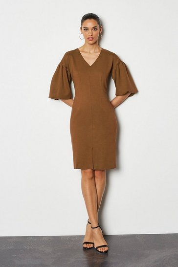 Rust Puff Sleeve Ponte Shift Dress