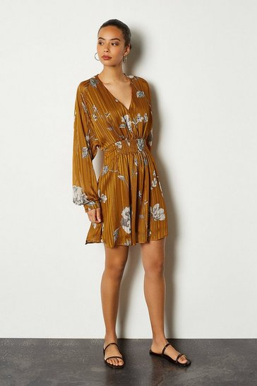 Ochre Sketch Floral Short Dress